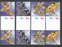 O078 !!! GUTTER PAIRS VANUATU INSECTS BUTTERFLIES 2SET MNH - Schmetterlinge