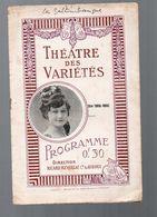 Toulouse (31 Haute Garonne)   :  Programme THEATRE DES VARIETES (c 1912) : Les Saltimbanques (CAT 1106) - Programs