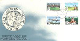 NORFOLK ISLAND - FDC - 12.7.1983 - FIRST MANNED FLIGHT - Yv 302-305 ASC 303-306- Lot 17504 - Ile Norfolk