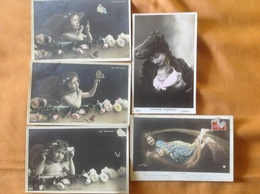 Lot De 5 Cpa Enfants Papillons Comète Maternelle - Portraits