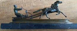 V.Grachev Bronze Figur Russische Schlitten Pferd Postkutscher Russland - Bronzes