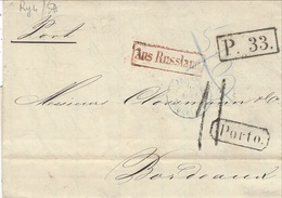 1864- Letter From St Petersbourg To Bordeaux -P33 + Porto. Back Königsberg.Pr / 27 M.. - 1857-1916 Empire