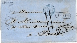 1862 - Letter From Moscou To Paris - Porto + P. 3 3 . Framed  + Rating 11 D Tampon - 1857-1916 Imperium