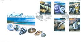 NORFOLK ISLAND - FDC - 21.4.2011 - SEASHELLS - Yv 1041-1045 - Lot 17507 - Ile Norfolk