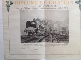 Diplome S.N.C.F. Citation Chef De Gare De Pompey Varangeville Plusieurs Fois  Bombardée Guerre 39/45 - Illustra Schefer - Diplômes & Bulletins Scolaires