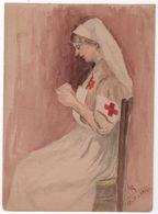 Dessin Aquarelle Originale Faite Par Un Poilu Signée LR 1914 Infirmière - Documents