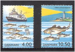 """Denmark 2002 100 Years Council For Marine Research (ICES). Research Vessel """"Dana IV"""", Lighthouse Mi 1316-1317 MNH(**) - Dänemark"""