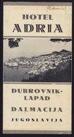 (3 Scans) Croatia DUBROVNIK Hotel ADRIA  - Publicité Pubblicità BROCHURE GUIDE (see Sales Conditions) - Dépliants Turistici