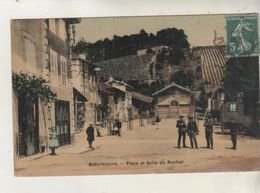 BEAUREPAIRE - Place Et Salle Du Rocher - Carte Toilée Et Colorisée - Carte Rare - Beaurepaire