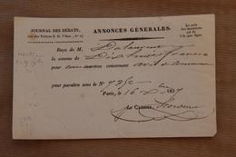 Reçu Journal Des Débats-Annonces Générales à Paris Pour Insertion, 1837 - Collections