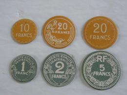 Éducatif Scolaire 6 Pièces Monnaie Carton Uniface Anciens & Nouveaux Francs. - Autres