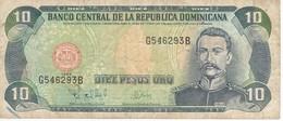 BILLETE DE REP. DOMINICANA DE 10 PESOS ORO DEL AÑO 1998  (BANKNOTE) - Dominicana