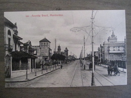Tarjeta Postal Postcard - Uruguaya Uruguay Montevideo - Horse Drawn Carriage - Avenida Brasil - 346 - Uruguay