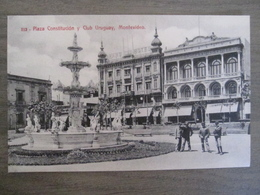 Tarjeta Postal Postcard - Uruguaya Uruguay Montevideo - Plaza Constitucion Y Club Uruguay - 312 - Uruguay
