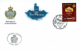 FDC SAN MARINO 90e ANNIVERSAIRE CLUB FUTBOL FONDATION ROME - Equipos Famosos