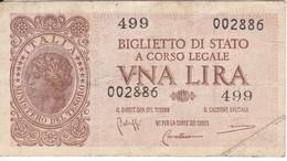 BILLETE DE ITALIA DE 1 LIRA  BIGLIETO DI STATO DEL AÑO 1944  (BANKNOTE) - Italia – 1 Lira