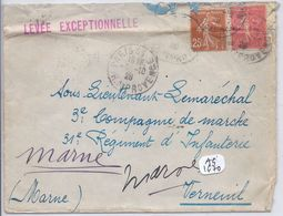 AFFR. LS- 50 C SEMEUSE LIGNEE+ 25 C SEMEUSE CAMEE- LEVEE EXCEPTIONNELLE- RARE GRIFFE LINEAIRE ROUGE- PLIEE - Marcophilie (Lettres)