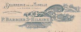 Facture 1911 / P. BARBIER St HILAIRE / Beurre De La Minelle / Beurre Extra-fin / 70 Corre - France