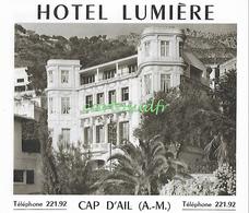 06 CAP D'AIL HÔTEL LUMIERE SUPERBE - Dépliants Touristiques