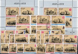 Stamps On Stamp 1978 Griechenland 1308/1,4x ZD,VB+Block 1 **/o 12€ 150 Year Post Philatelics Blocs Sheets Bf Hellas - Stamps On Stamps