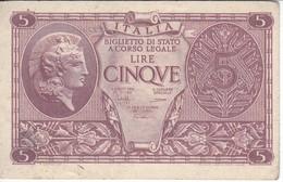BILLETE DE ITALIA DE 5 LIRAS  BIGLIETO DI STATO DEL AÑO 1944  (BANKNOTE) - [ 1] …-1946 : Reino
