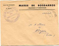 BASSES PYRENEES De BOSDARROS  Env. à En Tête De Mairie Avec Dateur A 8 De GAN    Du 20/04/1961 - Marcophilie (Lettres)