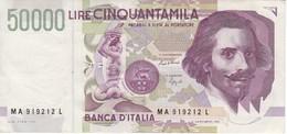 BILLETE DE ITALIA DE 50000 LIRAS DEL AÑO 1992 DE LORENZO BERNINI (BANKNOTE) - [ 2] 1946-… : República