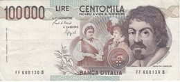 BILLETE DE ITALIA DE 100000 LIRAS DEL AÑO 1983 SERIE FF DE CARAVAGGIO (BANKNOTE-BANK NOTE) - 100.000 Lire