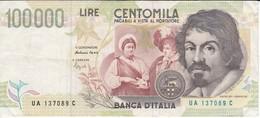 BILLETE DE ITALIA DE 100000 LIRAS DEL AÑO 1994 SERIE UA DE CARAVAGGIO (BANKNOTE-BANK NOTE) - [ 2] 1946-… : Républic