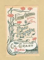 Etiquette Parfum Lotion Végétale Hygiène De La Tête Peau D'Espagne Ch. Grant PARIS 5,8 Cm X 8,8 Cm En B.Etat - Etiquettes