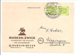 Posthorn 2x 2Pf Senkrechtes Paar Mi.123 Drucksache Karte Hameln Rattenfängerstadt 1953 - BRD