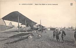21-LONGVIC-AVIATION- DEPART D'UN BIPLAN EN SERVICE COMMANDE - France