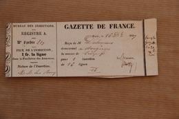 Reçu Gazette De France (Journal) à Paris Pour Insertion, 1837 - Collections