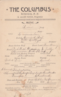Vintage 1893 Menu - The Columbus Restaurant - Bethlehem NH New Hampshire USA - Food Cuisine - Menus