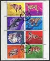 (lot 47) Oman Ob  Série De 8 Tbres En Petite Feuille -  Animaux Sauvages : Lions, Tigres, Léopard, Puma, Panthère Noire - Oman