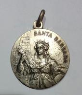 MEDAGLIA Santa Barbara - COGEFAR Cantiere Di ENTRACQUE (CN) ENEL Impianto Idroelettrico ( 1981 ) Metallo Bianco / 30mm - Professionali/Di Società