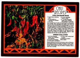 United States Modern Postcard Chili Recipes - Chili Sausage Bake & Green Chili Stew - Recipes (cooking)