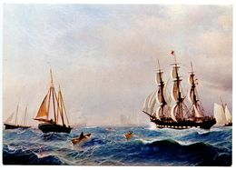 United States Modern Postcard Art Painting By John E.C. Peterson Of Ships - Paintings