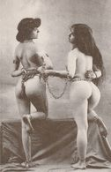 2 NAKED SLAVE MODELS UNUSED POSTCARD FRENCH DUPRET COLLECTION S6 - Pin-Ups