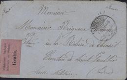 Guerre 1870 Vignette Noire Sur Rose Gratis Militaires Internés En Suisse CAD Langenthal 3 6 71 Arrivée Dos St Gaultier - Postmark Collection (Covers)