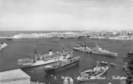 "D08080 ""MALTA - GRAND HARBOUR - VALLETTA""  NAVI. CART  SPED 1958 - Malta"