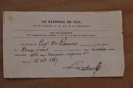 Reçu Le National De 1834 (journal) à Paris Pour Insertion, 1837 - Collections
