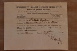 Reçu Abonnement Au Musée Des Familles (Impr.et Librairie Auguste Desrez à Paris), 1839 - Collections