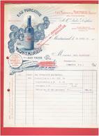 FACTURE 1913 EAU PURGATIVE DE MONTMIRAIL VAUCLUSE PRES VACQUEYRAS DITE EAU VERTE - 1900 – 1949