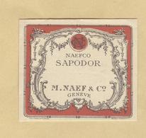 Etiquette Parfum Naefco Sapodor M. Naef & C° Genève Format 4,6 Cm X 5,3 Cm En B.Etat - Etiquettes