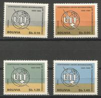 Bolivia - 1968 ITU Anniversary MNH **     Mi 777-80    Sc 506-7 & C287-8 - Bolivia