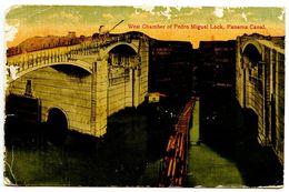 Panama 1925 Postcard West Chamber Of Pedro Miguel Lock, Panama Canal - Panama