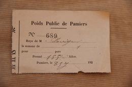 Reçu Poids Public De Pamiers (Ariège), Vers 1920 - Collections