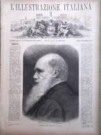 L'Illustrazione Italiana Del 30 Aprile 1882 Morte Charles Darwin Fraccaroli Roma - Voor 1900