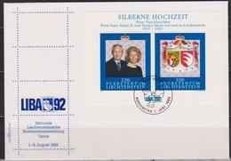 Lichtenstein FDC 1992  MiNr.1039 - 1040 Block 14 Silberhochzeit Des Fürstenpaares ( D 6176 )  Günstige Versandkosten - FDC